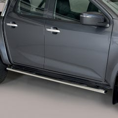 Side Bars (Oval) with Steps (76mm) Isuzu D-Max Mk6 (2021 Onwards) Double Cab, Stainless Steel