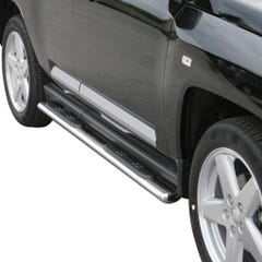 Pair of Oval Tube Side Bars with Steps 76mm SS Mach for Jeep Compass (07 on)