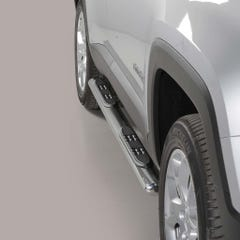 Pair of Oval Stainless Steel 76mm Side Bars with Steps Jeep Renegade Mk1 (2014 - 2017)