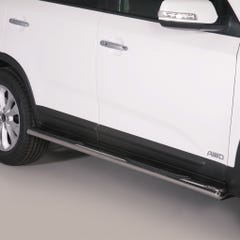 Pair of Oval Stainless Steel 76mm Side Bars with Steps Sorento Mk4 (2012 Onwards)
