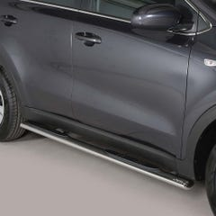 Pair of Oval Stainless Steel 76mm Side Bars with Steps Sportage Mk6 (2016 Onwards)