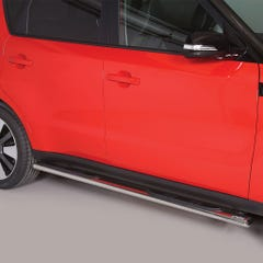 Pair of Oval Stainless Steel 76mm Side Bars with Steps Kia Soul Mk1 (2014 Onwards)