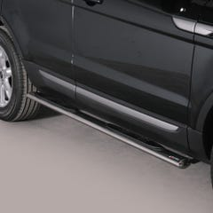 Pair of Oval Tube Side Bars with Steps 76mm SS Mach for Range Rover Mk1 (11 on)