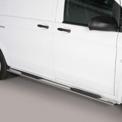 Pair of Oval Stainless Steel 76mm Side Bars with Steps Mercedes Vito (2010 Onwards)