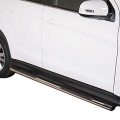 Pair of Oval Stainless Steel 76mm Side Bars with Steps Mitsubishi ASX Mk1-2 (2010 Onwards)