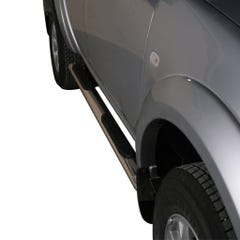 Pair of Oval Stainless Steel 76mm Side Bars with Steps Mitsubishi L200 Mk7 (2010 - 2015)