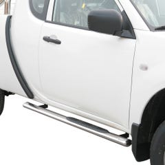 Oval Tube Side Bars with Steps 76mm SS Mach for Mitsubishi L200 Mk7(10-16) EC