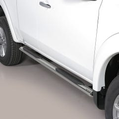 Pair of Oval Stainless Steel 76mm Side Bars with Steps Mitsubishi L200 Mk8-9 (2016 Onwards)