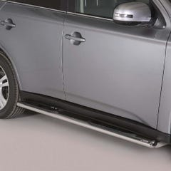 Pair of Oval Stainless Steel 76mm Side Bars with Steps Mitsubishi Outlander Mk5 (2012 Onwards)