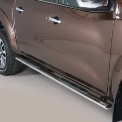 Pair of Oval Stainless Steel 76mm Side Bars with Steps Nissan Navara NP300 (2016 Onwards) Double Cab