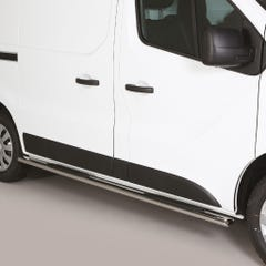 Pair of Oval Stainless Steel 76mm Side Bars with Steps Nissan NV300 (2016 Onwards)
