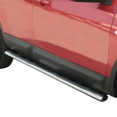 Pair of Oval Stainless Steel 76mm Side Bars with Steps Nissan Qashqai (2007 - 2009)