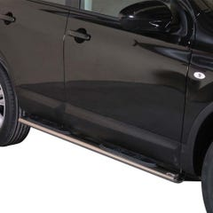 Pair of Oval Stainless Steel 76mm Side Bars with Steps Qashqai Mk2 (2010 - 2014)