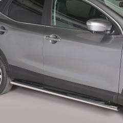 Pair of Oval Stainless Steel 76mm Side Bars with Steps Qashqai Mk3 (2014 Onwards)