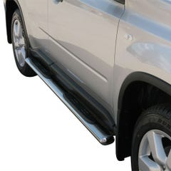 Pair of Oval Stainless Steel 76mm Side Bars with Steps Nissan X Trail (2007 - 2010)