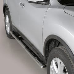 Pair of Oval Stainless Steel 76mm Side Bars with Steps Nissan X-Trail (2015 - 2017)