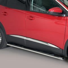 Pair of Oval Side Steps with Bars 76mm SS Mach for Peugeot 3008 (16 on)