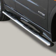 Pair of Oval Stainless Steel 76mm Side Bars with Steps Kyron Mk1 (2006 Onwards)