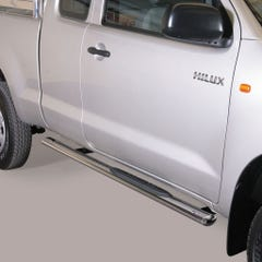 Pair of Oval Tube Side Bars with Steps 76mm SS Mach for Toyota Hilux (11 on) EC