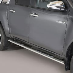 Pair of Oval Stainless Steel 76mm Side Bars with Steps Toyota Hilux (2016 Onwards) Double Cab