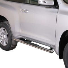 Pair of Oval Tube Side Bars with Steps 76mm SS Mach Land Cruiser 3 Dr LC150