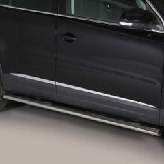 Pair of Oval Stainless Steel 76mm Side Bars with Steps Volkswagen Tiguan Mk2 (2011 - 2015)