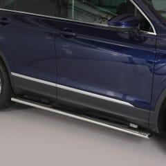 Pair of Oval Stainless Steel 76mm Side Bars with Steps Volkswagen Tiguan Mk3 (2016 Onwards)