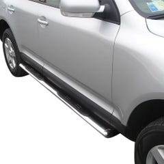 Pair of Oval Stainless Steel 76mm Side Bars with Steps Volkswagen Touareg Mk2 (2007 Onwards)