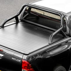 Truckman Retrax Tonneau Cover + Black Roll Bar Toyota Hilux (2016+) Double Cab