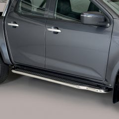Side Steps / Running Boards with Bars (50mm) Isuzu D-Max Mk6 (2021 Onwards) Double Cab, Stainless Steel