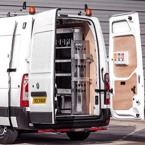 Rear View of Van with Aluca Racking